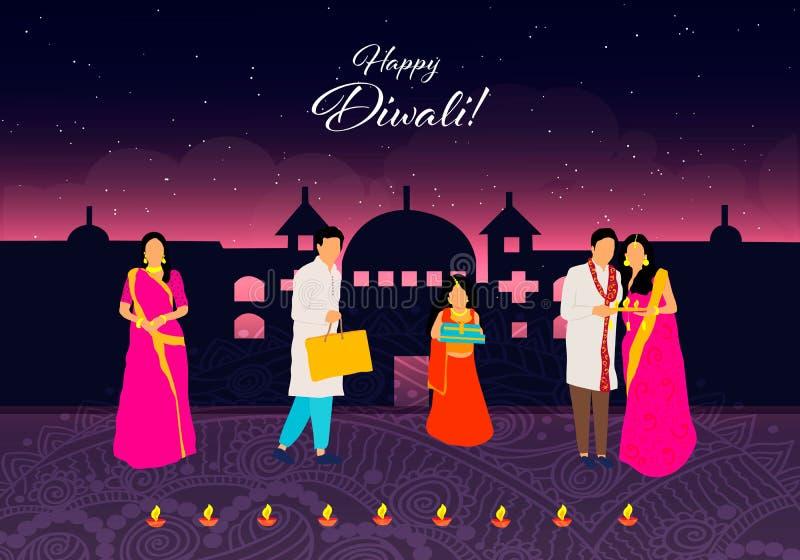 Diwali feliz Diwali feliz Festival indiano tradicional Festival de Diwali da Índia com os presentes no vetor ilustração stock