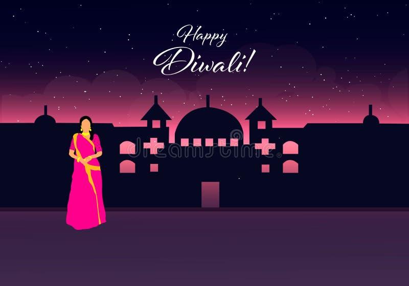 Diwali feliz Diwali feliz Festival indio tradicional Festival de Diwali de la India con los regalos en vector stock de ilustración