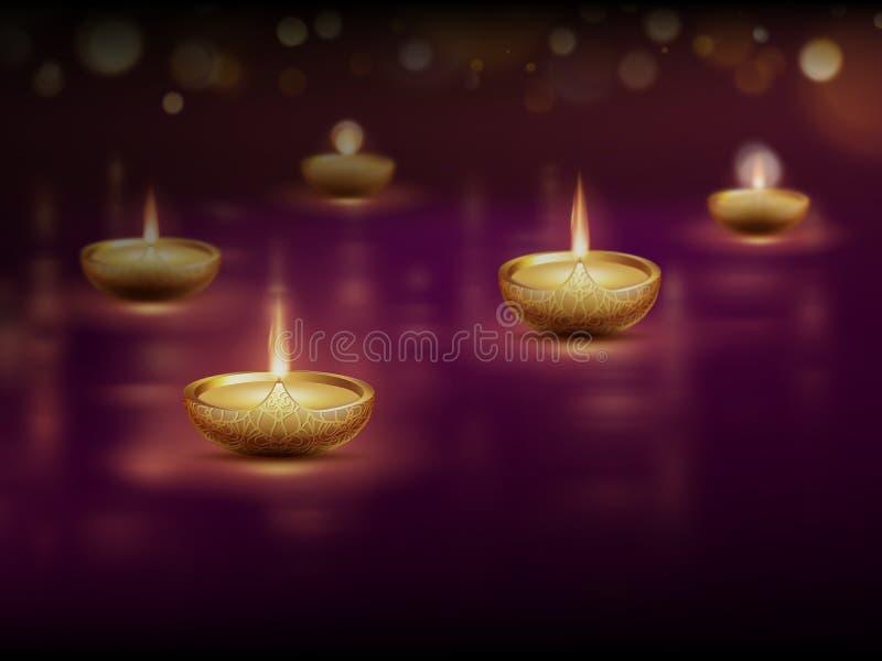 Diwali feliz, molde do cartaz com velas de queimadura das lâmpadas de óleo do diya Eps 10 ilustração do vetor