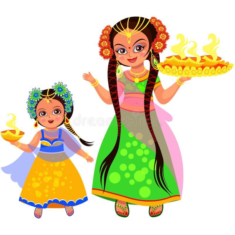 Diwali ferie av ljus och modern med dottern vektor illustrationer