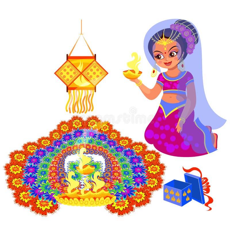 Diwali ferie och kvinna med brand nära rangoli stock illustrationer