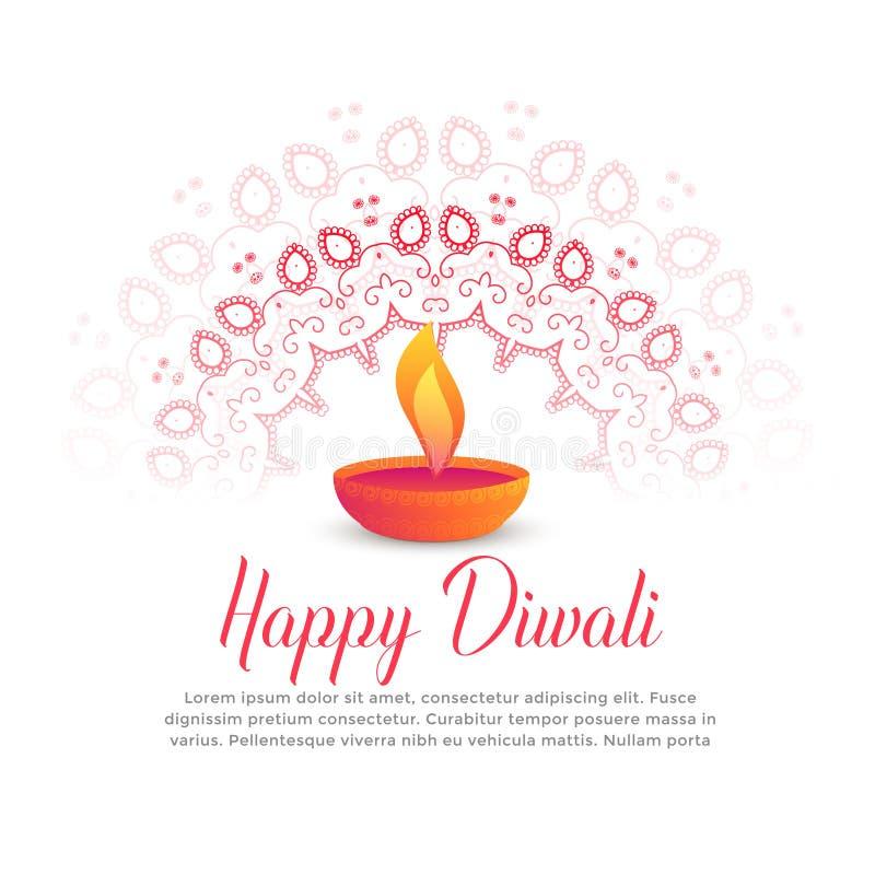 Diwali-Festival brennendes diya und Mandalakunst vektor abbildung