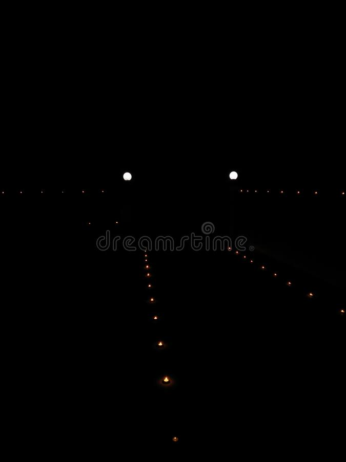 Diwali festival celebrated on new moon night diyas look in absence of another light stock photography