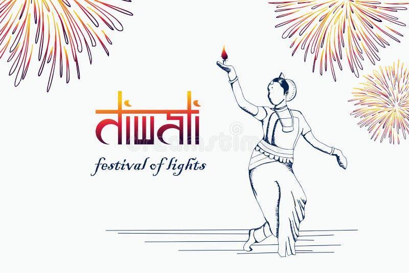 Diwali-Festival-Grußentwurf mit Handdem gezogenen indischen Mädchentänzer, der brennendes diya hält Vektorillustration für hindis vektor abbildung