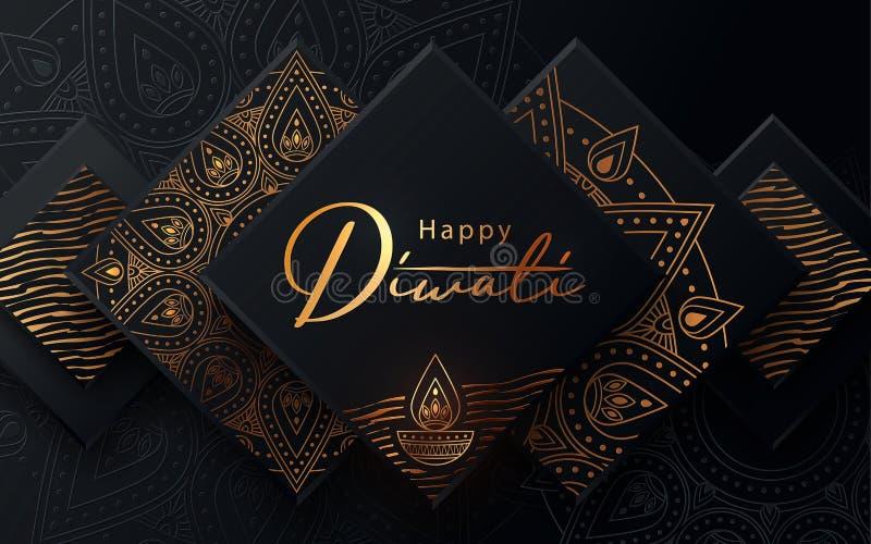 Diwali Festival moderne Luxus-Design in Papierschnitt-Stil mit goldenem Muster und Öllampe auf schwarzem texturiertem Hintergrund vektor abbildung