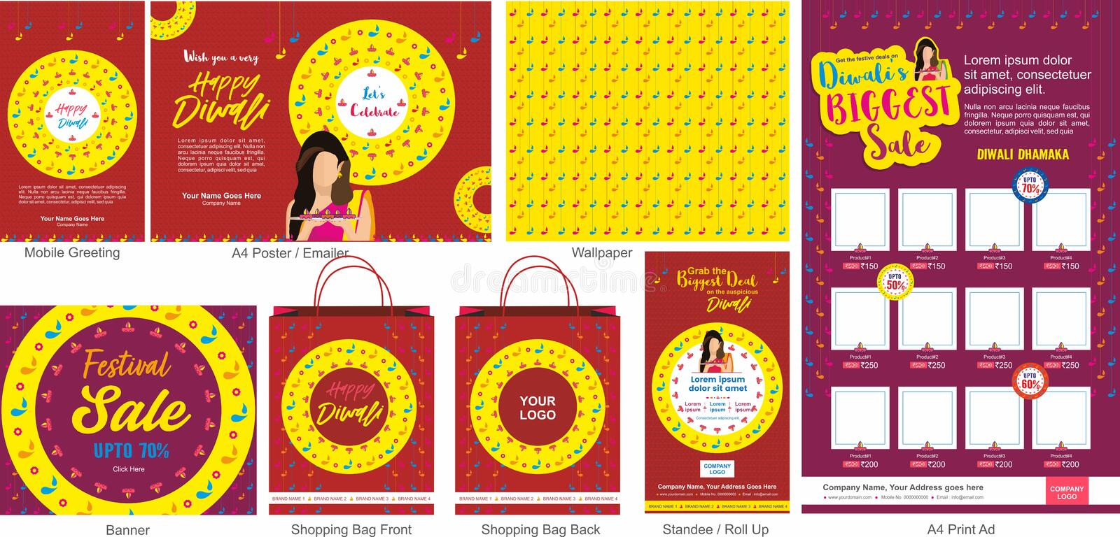 Diwali Festival Offer Big Sale Template with mobile greeting, mailer or flyer, wallpaper, print ad, Banner, Shopping bag design a. Nd roll ups. An Indian Hindu royalty free illustration
