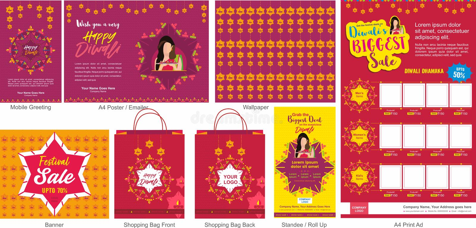 Diwali Festival Offer Big Sale Template with mobile greeting, mailer or flyer, wallpaper, print ad, Banner, Shopping bag design a. Nd roll ups. An Indian Hindu stock illustration