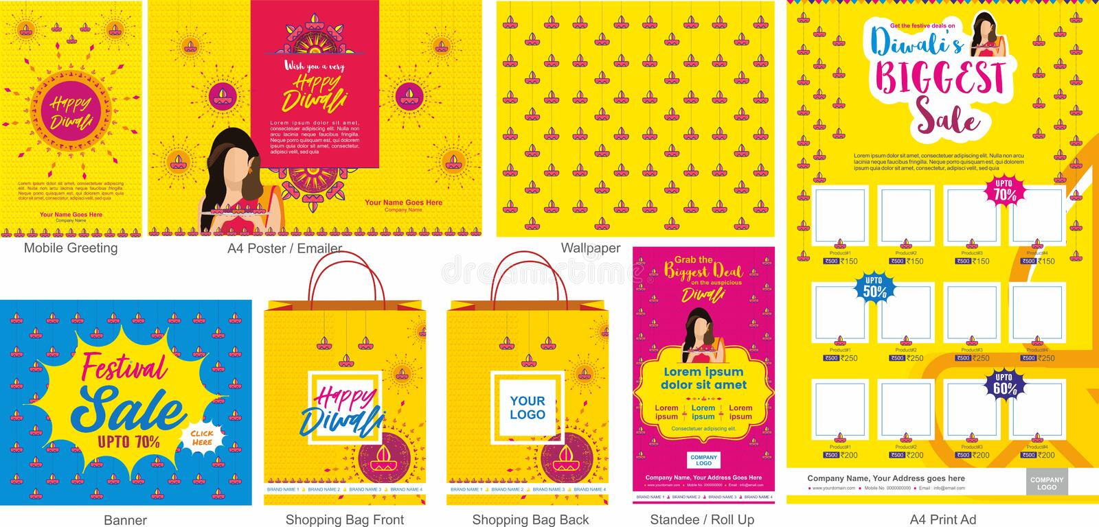 Diwali Festival Offer Big Sale Template with mobile greeting, mailer or flyer, wallpaper, print ad, Banner, Shopping bag design a. Nd roll ups. An Indian Hindu vector illustration