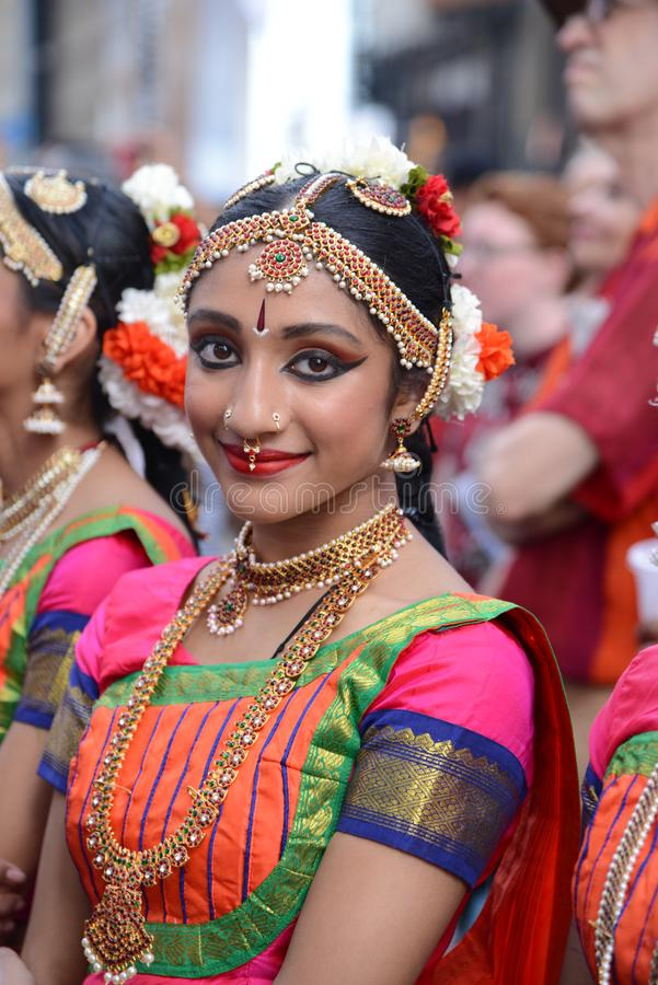 Diwali festival smile. Diwali festival of lights 2017 young lady smiling in New York City royalty free stock photography