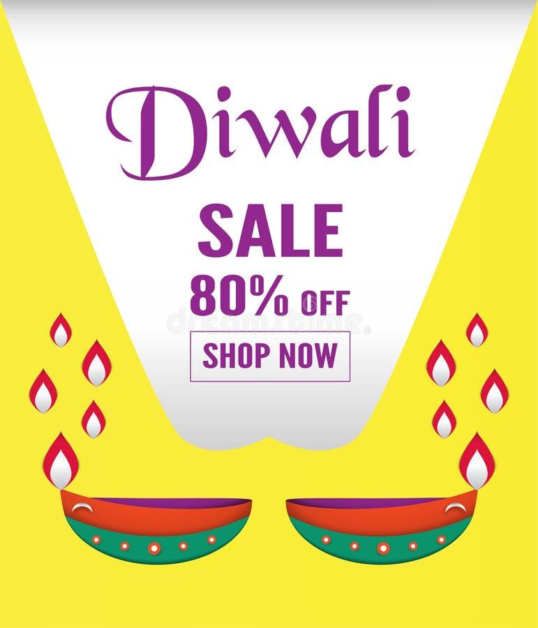 Diwali is festival van lichten van Hindoes voor uitnodigingsachtergrond, royalty-vrije illustratie