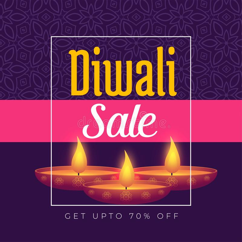 Diwali-Festivalangebotplakat-Schablonenentwurf mit brennendem diya stock abbildung