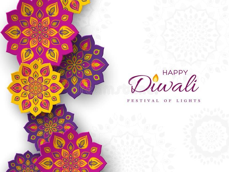 Diwali festiwalu wakacyjny projekt z papieru cięcia stylem indianin Rangoli Purpury, fiołek, żółty kolor na białym tle, il royalty ilustracja
