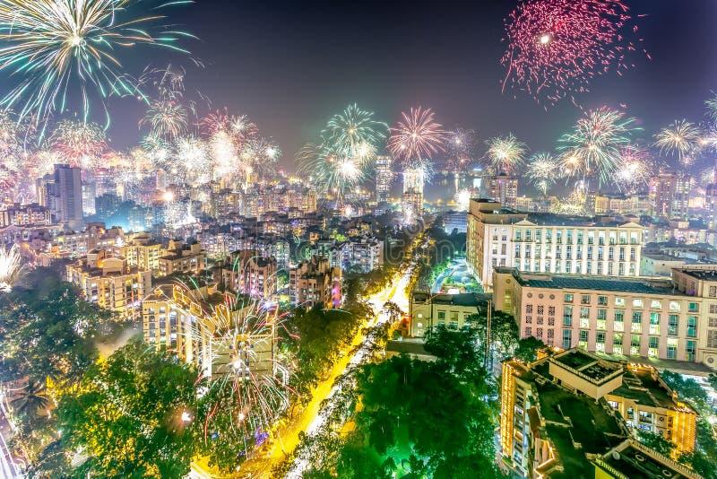 Diwali fyrverkerier 2014 arkivfoto