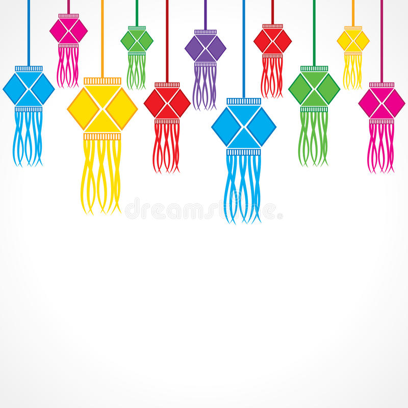 Download Diwali Greeting Background With Hanging Lamps Stock Vector