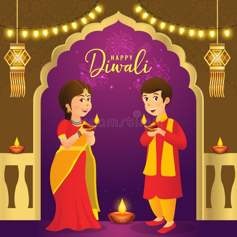 Diwali-Grußkarte mit indischen Kindern der Karikatur vektor abbildung