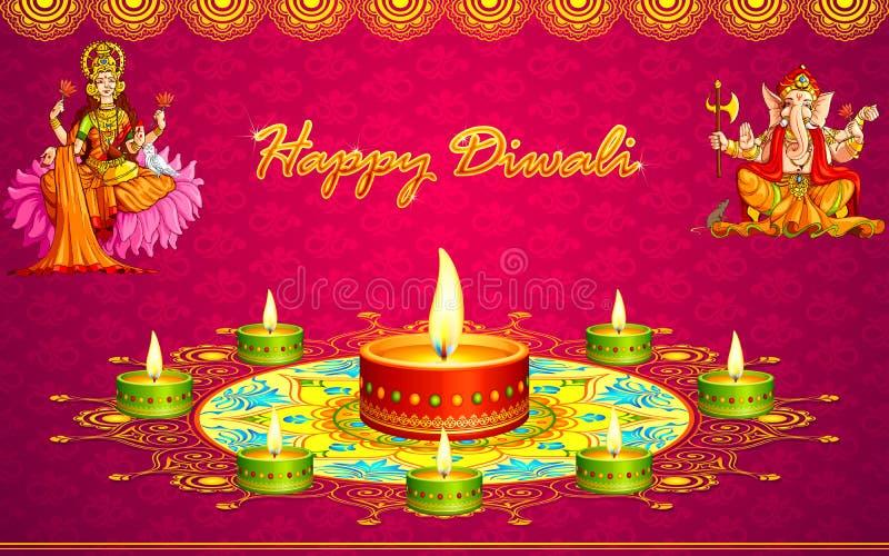 Diwali hälsningar vektor illustrationer