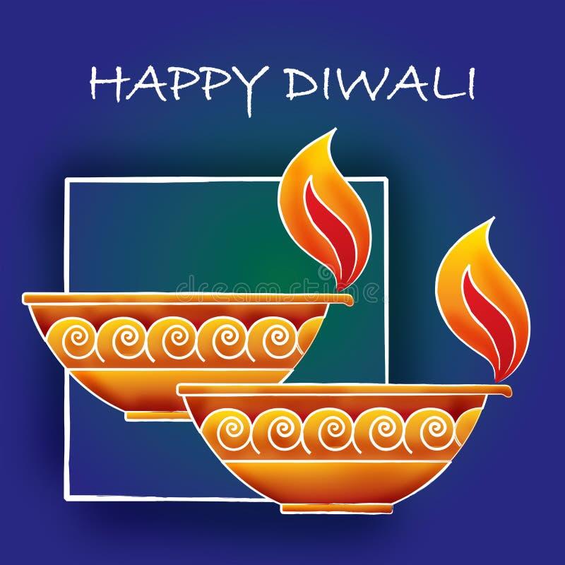 Diwali hälsningar stock illustrationer