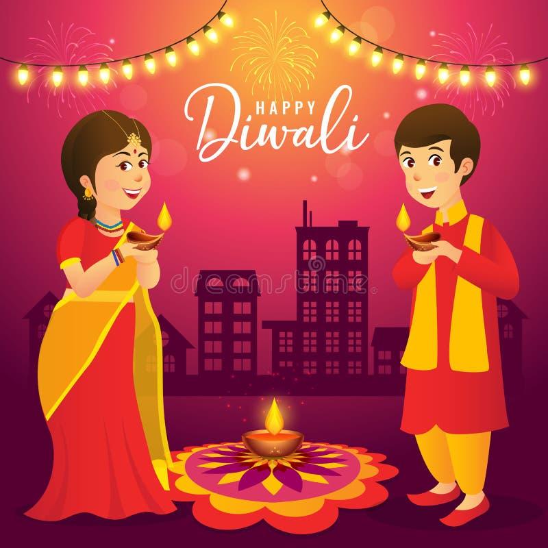Diwali hälsningkort med indiska ungar för tecknad film royaltyfri illustrationer