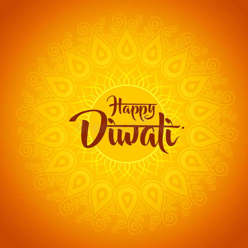 Diwali heureux avec l'ornement du henné illustration stock