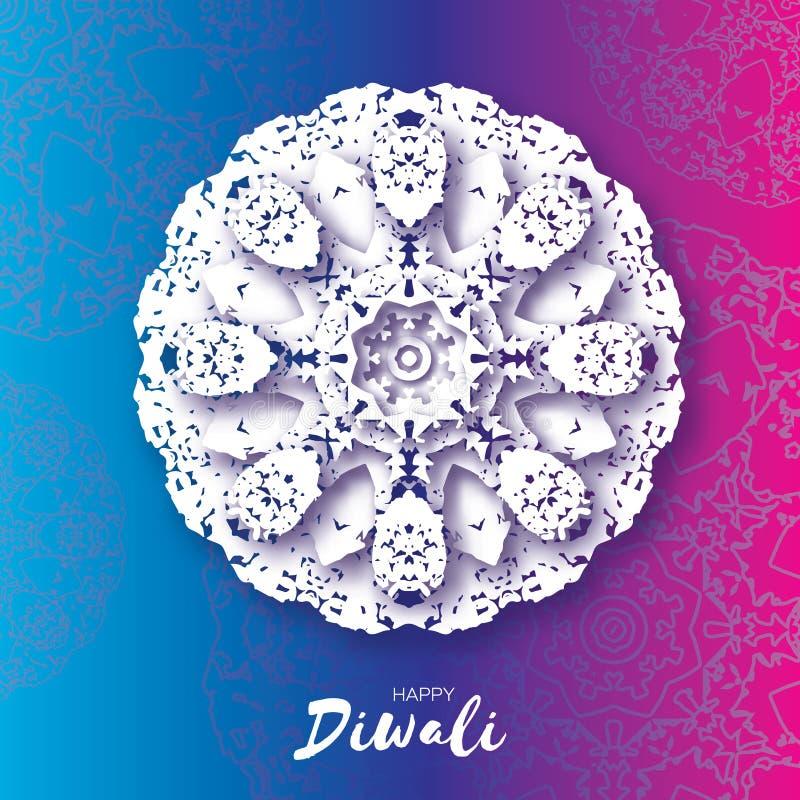Diwali heureux Célébration indienne dans le style de coupe de papier Beau festival d'origami des lumières indou Mandala blanc Vec illustration stock