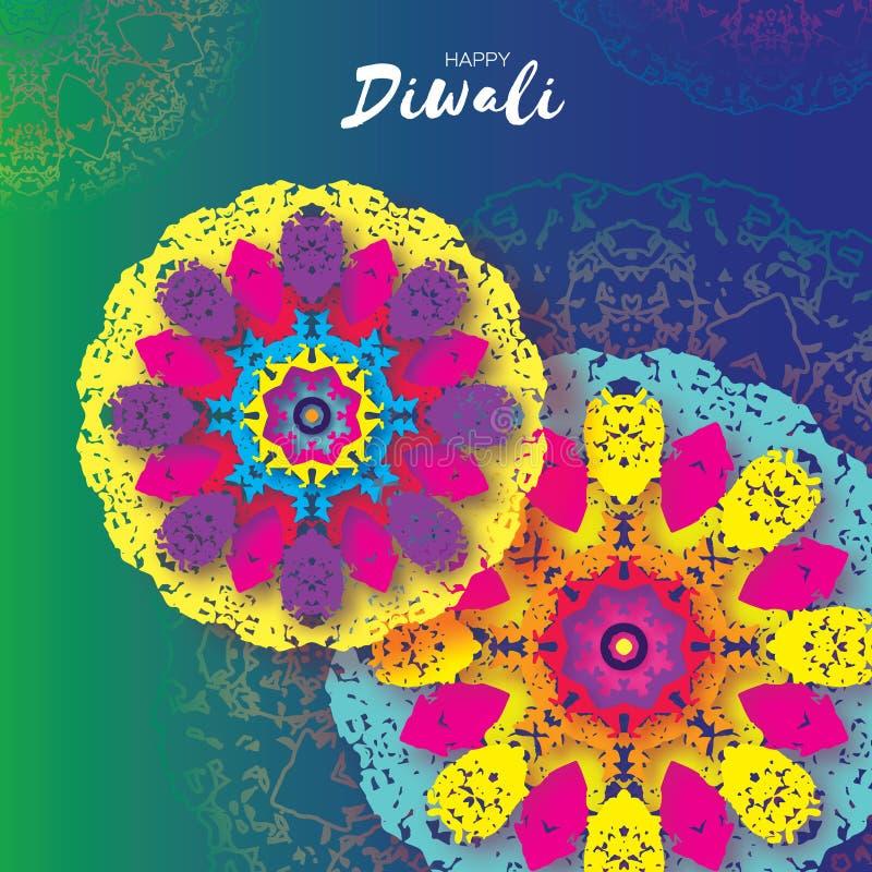 Diwali heureux Célébration indienne dans le style de coupe de papier Beau festival d'origami des lumières indou Mandala coloré illustration libre de droits