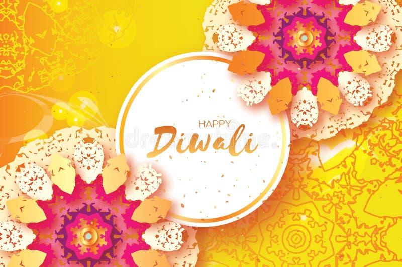 Diwali heureux Célébration indienne dans le style de coupe de papier Beau festival d'origami des lumières indou Mandala coloré illustration stock