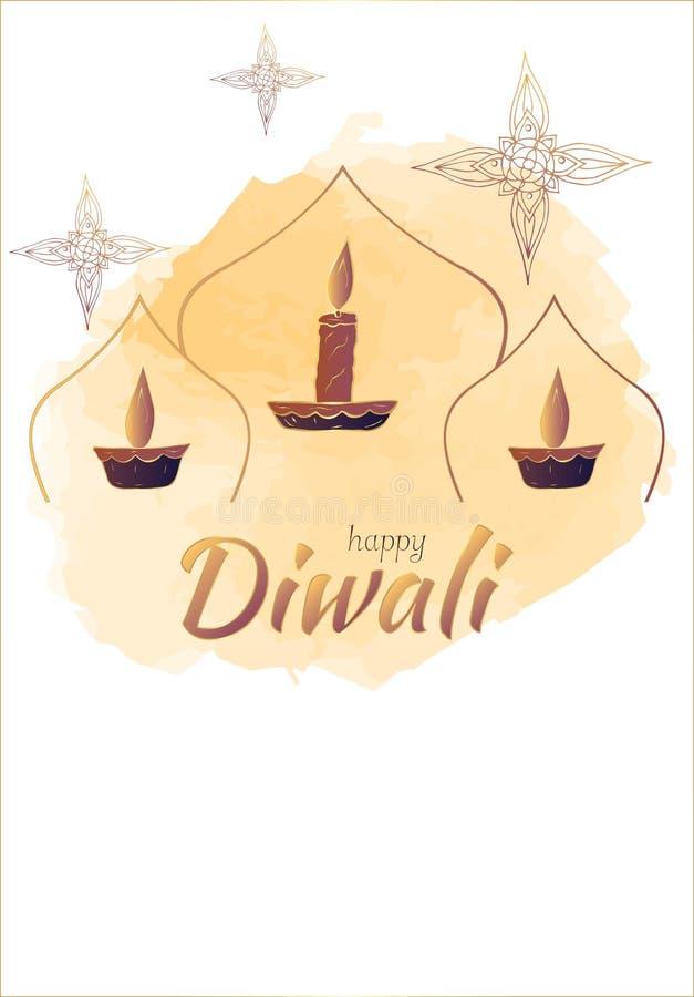 Diwali heureux ! Calibre pour des cartes postales illustration libre de droits