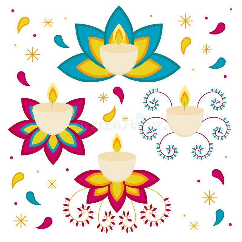 Diwali Hindoes festival kaarsenvoorwerpen op witte achtergrond worden geïsoleerd die stock illustratie