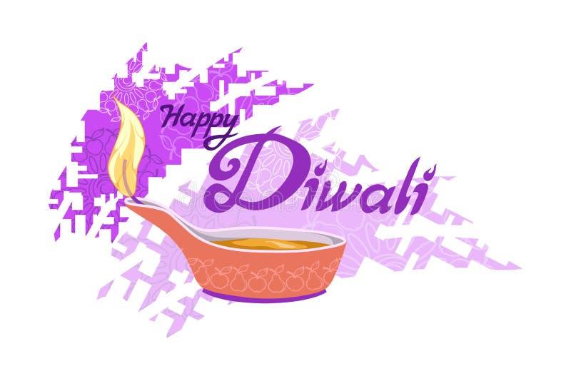 Diwali Hindoes festival, licht festival, Gelukkige Diwali-Vakantie, illustratie van het branden diya, festival van India royalty-vrije illustratie