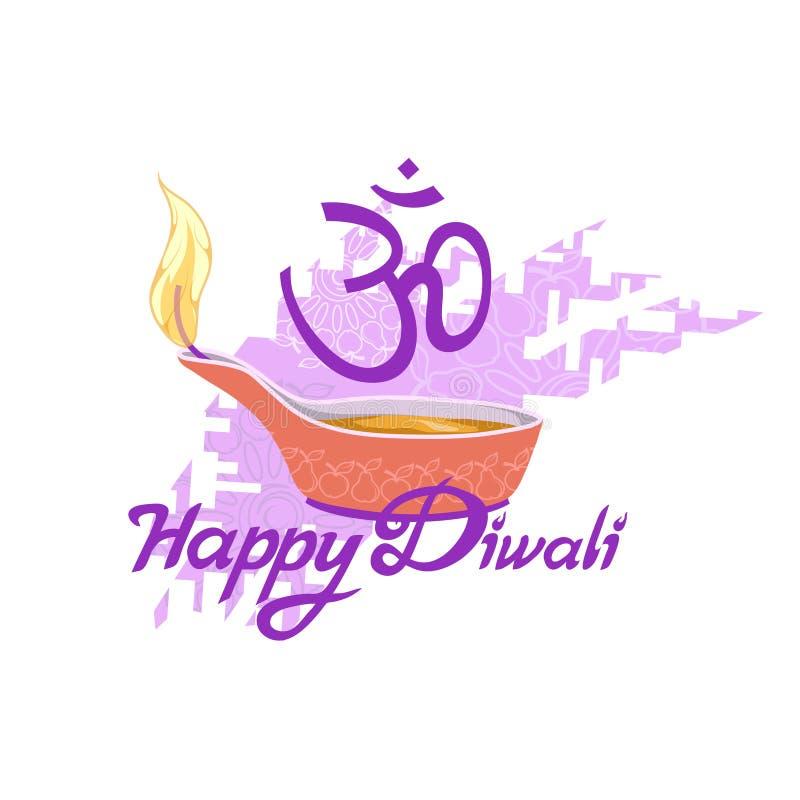 Diwali Hinduski festiwal, lekki festiwal, Szczęśliwy Diwali wakacje, ilustracja płonący diya, festiwal India ilustracja wektor