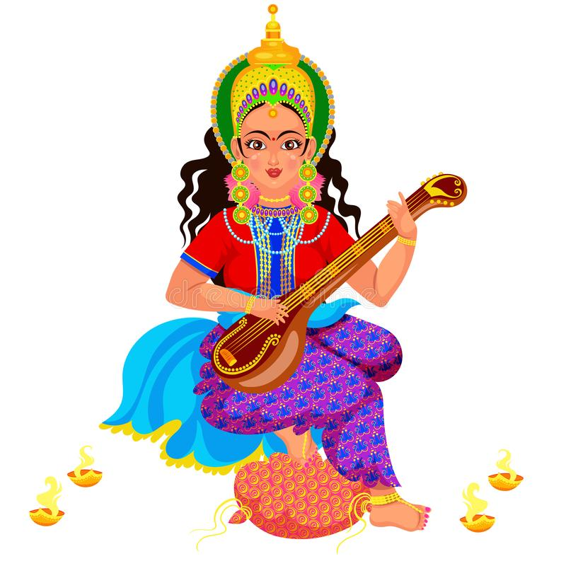 Diwali holiday goddess Saraswati with veena. Diwali holiday and Saraswati with veena musical instrument. Hindu goddess of knowledge music art wisdom or learning royalty free illustration