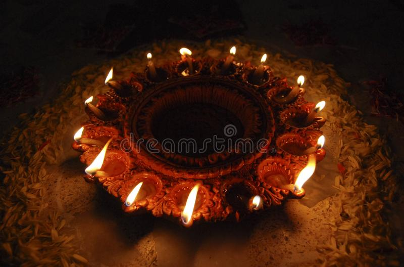 Diwali indian oil diyas lit up royalty free stock photo