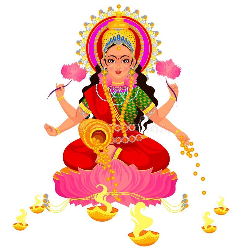 Diwali indisk ferie med Parvati den hinduiska gudinnan royaltyfri illustrationer