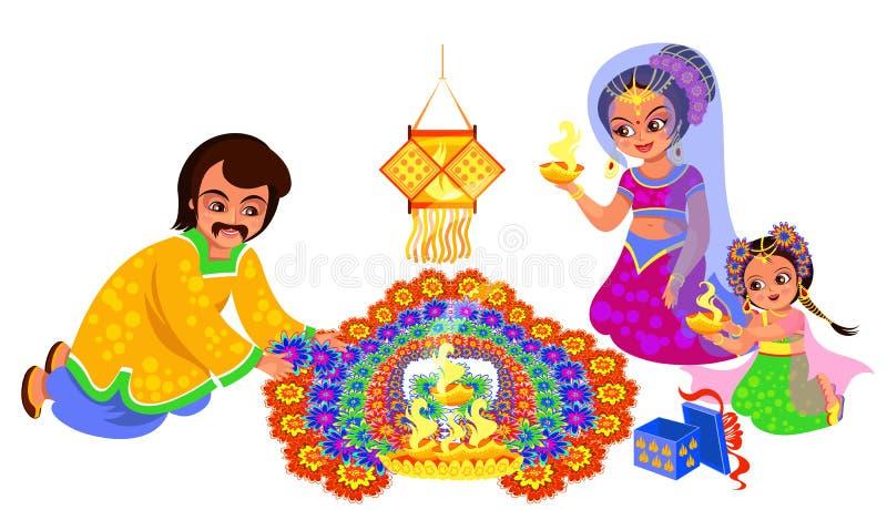 Diwali indisk ferie och familj som skapar rangoli vektor illustrationer