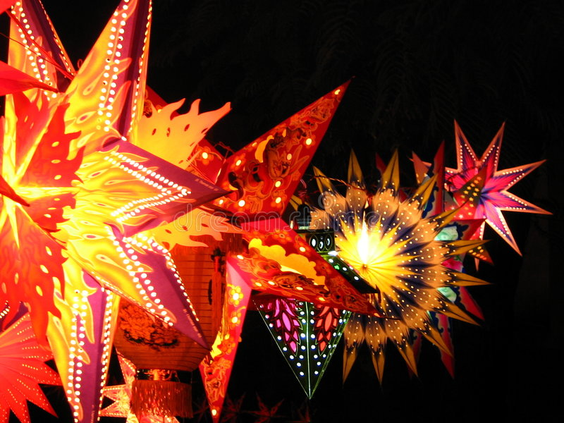 Diwali Lantern. Skylaterns as they are called are lit up in India on the festive occasion of Diwali / Christmas stock photo