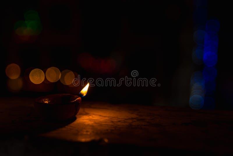 Diwali Light in dark background. Diwali light using traditional diwa made of earth soil in bokeh stock photography