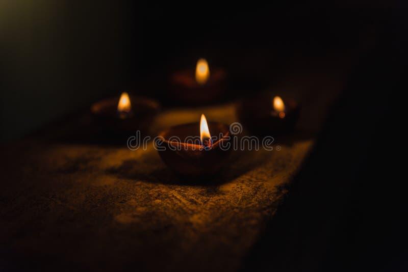 Diwali Light in dark. Diwali light using traditional diwa made of earth soil royalty free stock photo