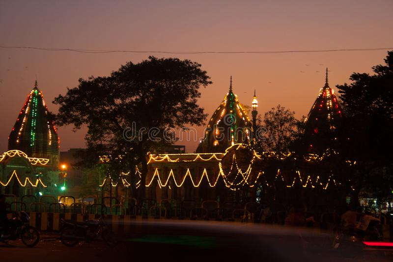 Diwali Lighting and decoration in Indore India. Diwali Lighting and decoration at Krishnapura chhatri  in Indore India stock image