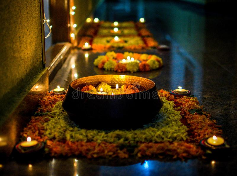 Diwali Lights Colours Rangoli royalty free stock photography