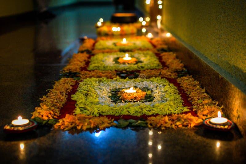 Diwali Lights Colours Rangoli stock images