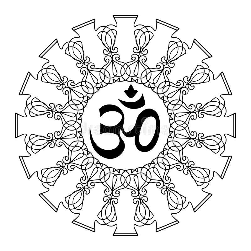 Diwali Ohm symbol with mandala. Isolated on white background. Vector royalty free illustration