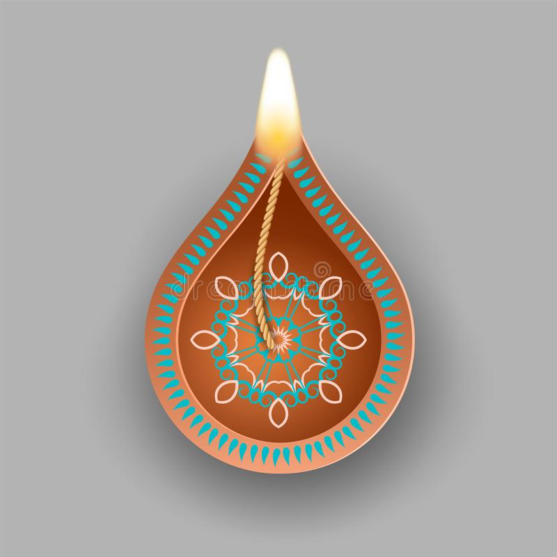 Diwali Oil Lamp. Traditional Indian clay diya lamp for Diwali festival vector illustration