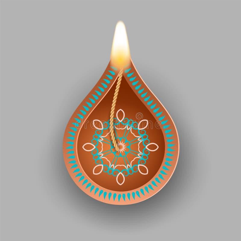 Diwali olje- lampa vektor illustrationer