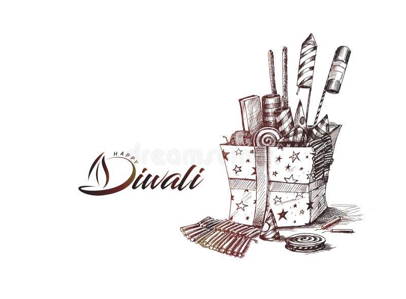 Diwali smällare för den Diwali gåvan stock illustrationer