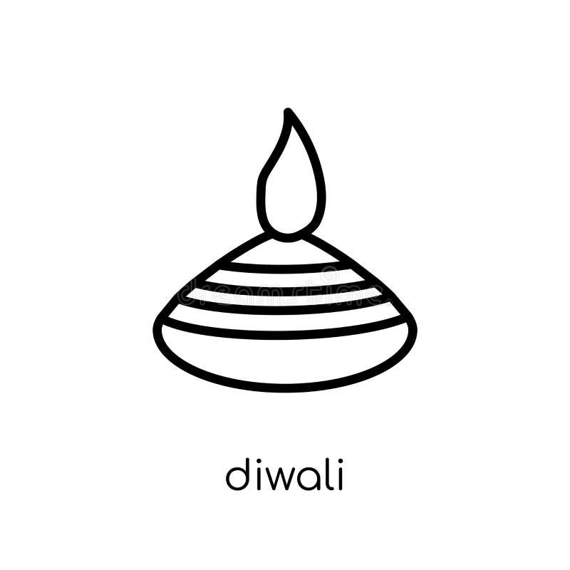 Diwali symbol Moderiktig modern plan linjär vektorDiwali symbol på whi vektor illustrationer