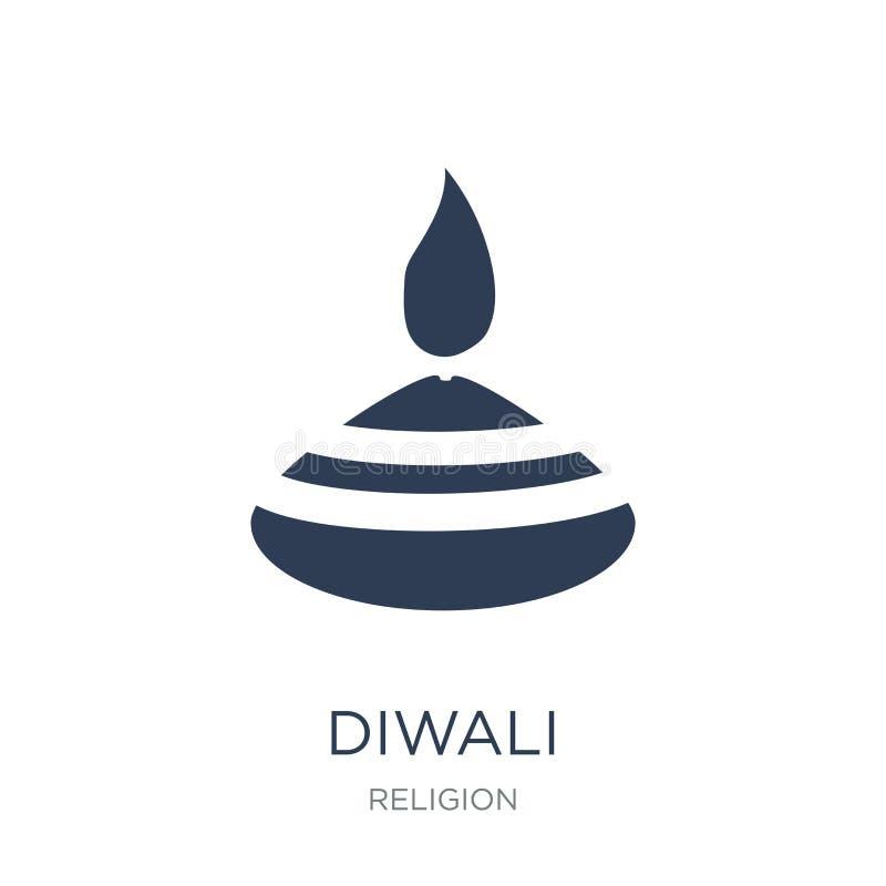Diwali symbol Moderiktig plan vektorDiwali symbol på vit bakgrund vektor illustrationer