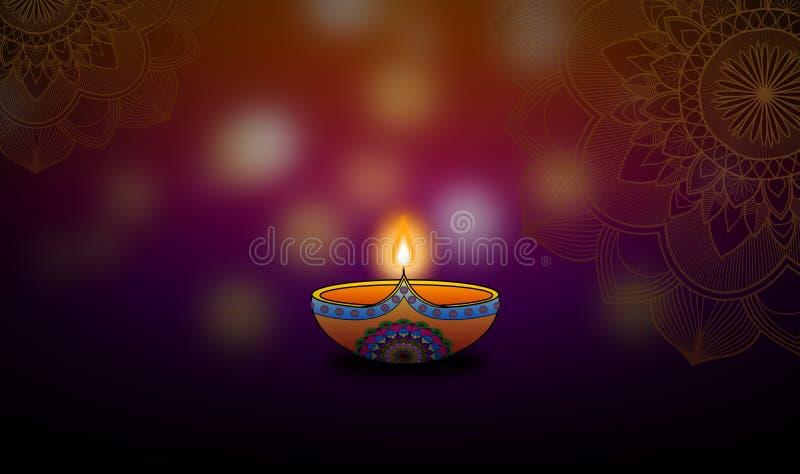 Diwali tänder bakgrund för designen för festivalberömillustrationen stock illustrationer