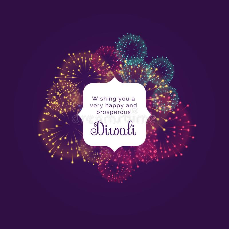 Diwali wishes greeting card design with colorful fireworks. Vector illustration stock illustration