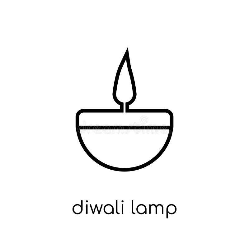diwalilampsymbol Moderiktig modern plan linjär vektorDiwali lampa I stock illustrationer