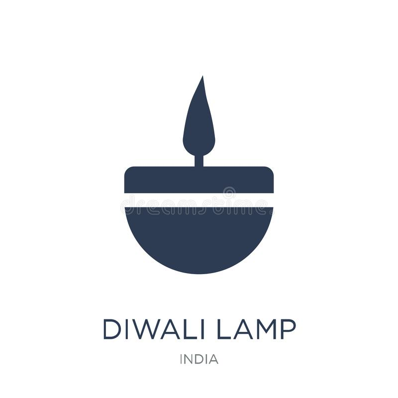 diwalilampsymbol Moderiktig plan symbol för vektorDiwali lampa på vitt b stock illustrationer